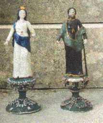 La Vierge et st Joseph en verre filé. Nevers XVIIIème